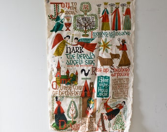 Christmas Carol Textile Music Banner Christmas Fabric Artwork Christmas Decor Vintage Christmas Twelve Days of Christmas Wall Hanging Canvas
