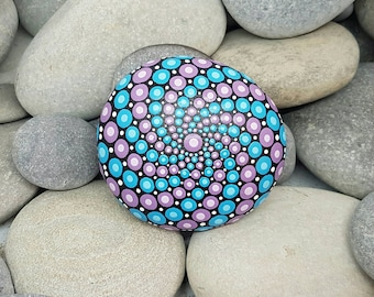 Painted Rock - Purple & Blue Mandala Stone - Chakra Stone - Hand-Painted Meditation Mandala Rock - Home Decor - Mandala Art - Rock Art