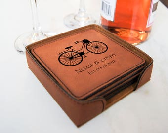 Personalized Leatherette coasters, housewarming gift, wedding gift, custom engraved coasters, thank you gift