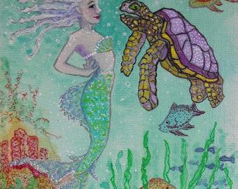 Original Mermaid art, acrylic inks on canvas board, fantasy, Mermaid and Sea Turtle, exotic fish, shells, illustration, girls room decor