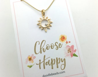 """Sun Necklace, gold or silver Sunshine Necklace, Small Sun Charm Necklace - choose in a gift box or carded gift """"Choose Happy"""" quote card"""
