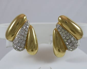 GIVENCHY Signed Gold Tone Rhinestone Chunky Drop French Clip Earrings