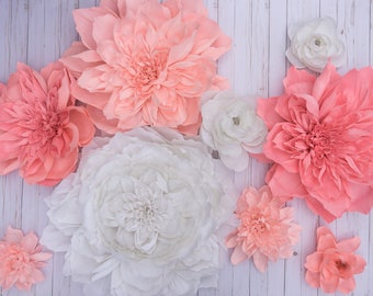 Set of 9 - Mix - Peonies & Ranunculas Giant Crepe Paper Flowers