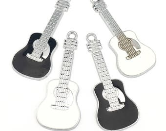 4 guitar charms black and white enamel and silver tone, 19 mm x 48mm # CH 528