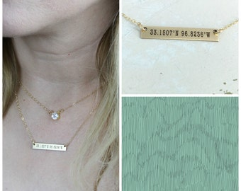 Coordinates bar necklace • Layering necklace • Sterling Silver, Gold-filled or Rose Gold-filled option• Custom Latitude & Longitude Necklace