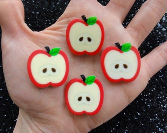 6 pcs - Small Cute Apple Slice Planar Resin Flatback Cabochon - 26mm - Fruit CABS - Decoden - DIY - Orchard