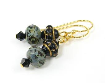 Black Gold Dangle Earrings, Black Crystal Drop Earrings  EC1-29