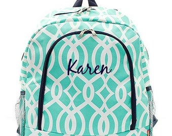 Monogrammed Backpack Personalized Ivy Moroccan Mint Green Backpack Personalized Backpack Kids Backpack Girls Backpack Boys Backpack