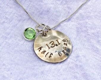 Half marathon half crazy 13.1 necklace