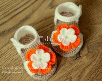 Crochet baby sandals, baby girl slippers, flower sandals, baby booties, baby girl shoes, summer shoes, gladiator sandals, gift for baby