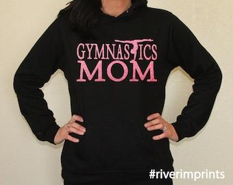 Hoodie GYMNASTICS MOM sweatshirt, lightweight glittery Mom fanwear- choose from 2 styles