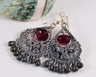 Gray Fuchsia Chandelier Earrings Urban Bohemian Jewelry Boho Chic Earrings