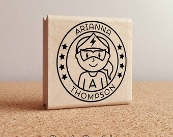 Personalized Girl Superhero Rubber Stamp - Choose Name, Hairstyle and Accessories