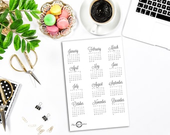 Year at a glance, Calendar 2018, Full Year 2018,  Bullet Journal Stickers, Planner Stickers, Monthly Calendar