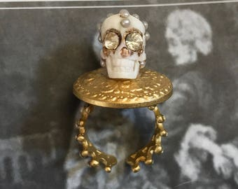 Memento Mori 22K Gold Plated White Ox Bone Skull Ring with Pearls and Crystals Adjustable