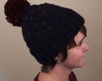 Little Hearts Fair Isle Hat in Navy/Cranberry