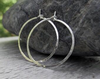 0.75 inch, Sterling Silver Hoop Earrings, Hammered Hoop Earrings, Small Hoops, Plain Hoops, Modern Jewelry, Simple Hoops, Argentium Sterling