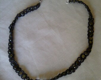 Olive Bead-Wrapped Necklace