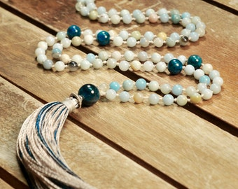 Amazonite Mala Necklace Boho Style. Yoga. Meditation. Ideas for her. Boho Jewelry. Bohemian Necklace. Tassel Necklace