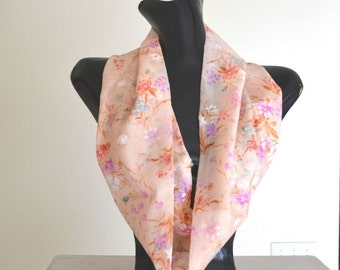 Fabric Scarf - Floral Peach - Pink Sheer Infinity Scarf - Eco Friendly Vintage Fabric Cowl Scarf