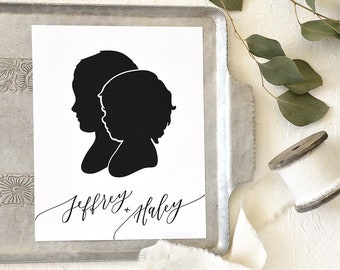 Siblings Papercut Silhouette Hand Drawn from your Photo - Personalize with your Child's Name and/or Date