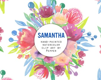 INSTANT DOWNLOAD - Samantha Watercolor Flowers Clipart - Hi Res Printable Hand Painted Spring Floral Illustration, Bright Red and Pink