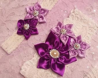 Wedding Garter Belt, Bridal Garter Set, Ivory Lace Garter, Keepsake Garter Toss Garter Purple Shabby Orchid, Pick Your Colors, gift boxed