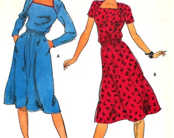 UNCUT  Dress with Shaped Neckline and Piping Bust 30.5 Vintage Sewing Pattern Butterick 3349