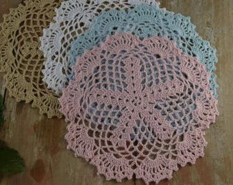 "Crochet Doily sets of 2 - Round Coasters 22CM/8.5"" Pink Doily Wedding Table Decor Home decor"