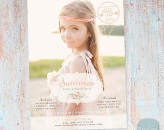 ON SALE Summer Marketing Board - Mini Sessions - Photoshop Newsletter template - IH004 - Instant Download