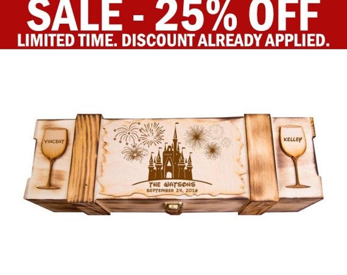 Disney Theme Wine Box, Wedding Disneyland Theme Wine Ceremony, Walt Disney World Theme, Disney land, Rustic Winery, Personalized W01