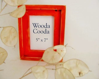 5x7  Orange wood picture frame. Stacked antique distressed picture frame.