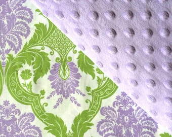 Baby Car Seat Canopy COVER or NURSING Cover: Lavender, Purple, Mauve and Green Damask with Lavender Minky, Personalization Available