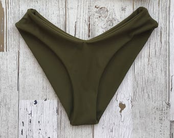 Moderate coverage olive bikini bottoms