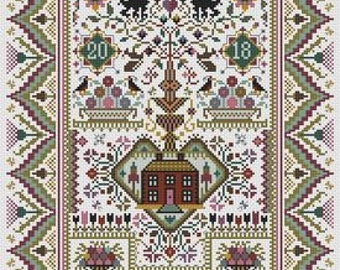 NEW! LONG DOG SAMPLeRS Wishing Tree OPTIONaL thread pack counted cross stitch patterns at thecottageneedle.com 2018 Nashville Market