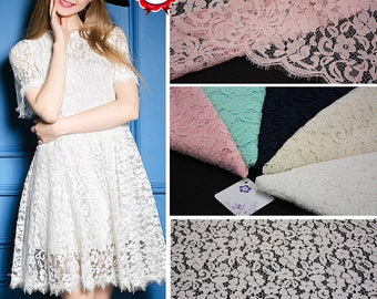 White Flower Eyelash Lace Fabric Lace Trim 59.05 Inches Wide 1.64 Yards/ Craft Supplies, WL1473