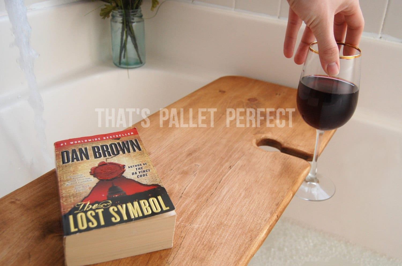 Reclaimed Wood Bathtub Tray Wine Glass Holder Bathtub Caddy