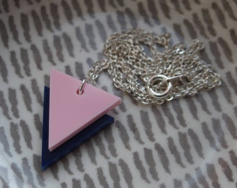 """Pink on Navy Laser Cut Acrylic Geometric Triangle Necklace 20"""" Silver Chain"""