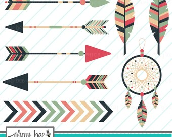 SALE! Boho-Arrow-Dreamcatcher-Feather- Clipart Set, Commercial Use, Instant Download, Digital Clipart, Digital Images- CP244