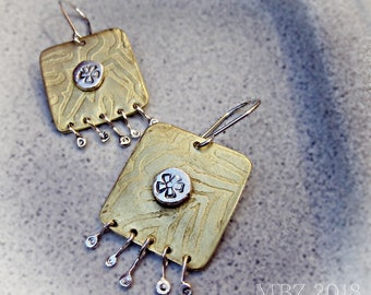 Earth shine etched brass earrings with silver shimmy dangles