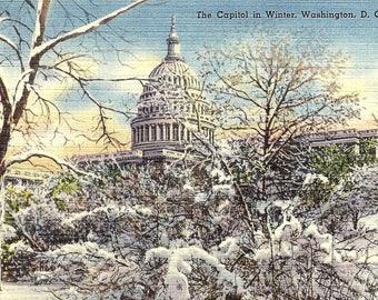 Washington DC, US Capitol, Winter, Snowy - Vintage Postcard - Postcard - Unused (RR)
