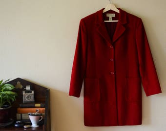 Vintage 80s 90s Red Wool Pea Coat, US Women's Size - M/L