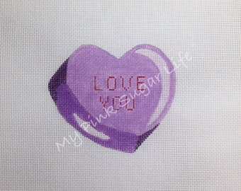 Hand Painted Purple Candy Love You Needlepoint Canvas