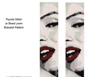 Bracelet Pattern for Bead Loom or Peyote Stitch - MarilynRedLips - Bead Loom and Peyote Stitch Bracelet Pattern - Delica Bead Pattern