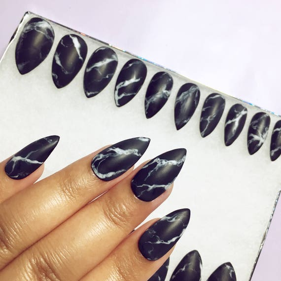 Black or White Stone Marble Press On Nails in Matte or Glossy