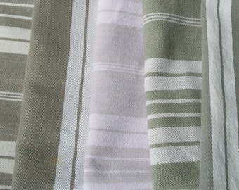 Bundle of Vintage French 1930's Mixed Stripe grey Green Linen Ticking Fabric Pieces
