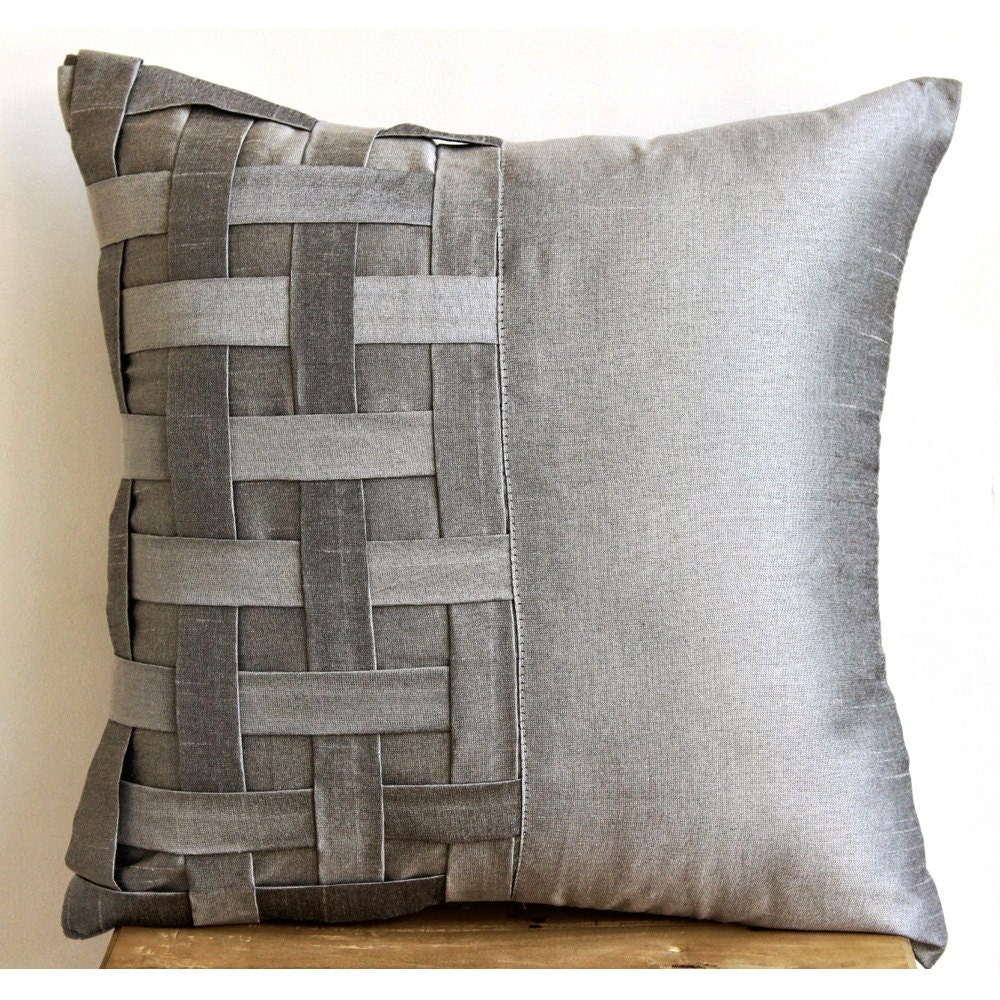 Designer Silver Grey Pillow Covers 18x18 Silk