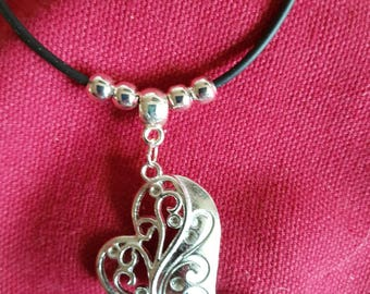 Valentine Heart pendant on thong necklace