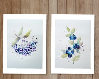 Watercolor Painting Blueberry Set 2 Art Print on high quality watercolor paper