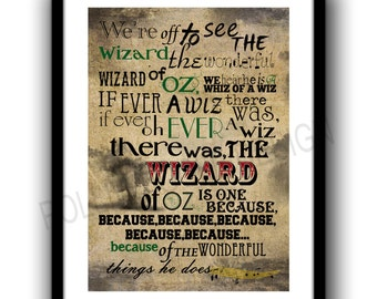 Wizard Of Oz Print, Were Off To See The Wizard, Somewhere Over The Rainbow